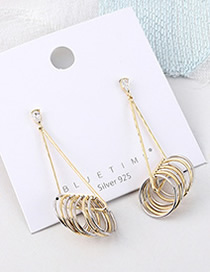 Fashion Gold Plated Gold Circle Triangle Hollow S925 Silver Needle Earrings