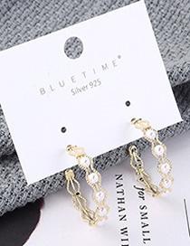 Fashion Gold Plated Gold Semi-circular Cutout S925 Silver Needle Earrings