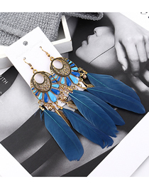 Fashion Dark Blue Fringed Leaf Earrings