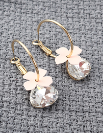 Fashion 14k Gold + Pink Plated Gold Flower Glass Earrings