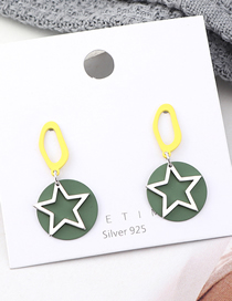 Fashion Yellow + Green Plated Gold-brushed Five-star S925 Silver Needle Stud Earrings