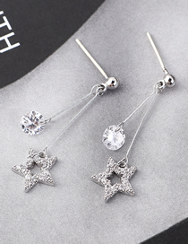 Fashion Silver Plated Gold Stars S925 Silver Needle Stud Earrings