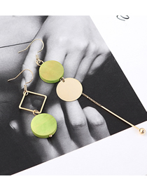 Fashion 14k Gold + Green Plated Gold Round Asymmetrical Earrings