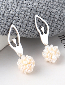 Fashion Silver Plated Gold Ballet Pearl S925 Silver Needle Stud Earrings