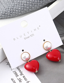 Fashion Red Plated Gold Heart S925 Silver Needle Stud Earrings