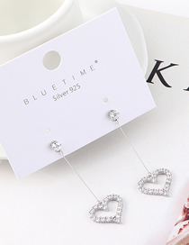 Fashion Silver Plated Gold Heart Caution S925 Silver Needle Stud Earrings