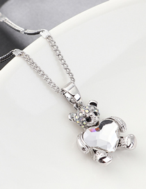 Fashion White Bear Holding Heart Crystal Necklace