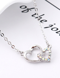 Fashion Colorful White Heart Lock Love Crystal Necklace