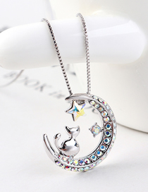 Fashion Colorful White Chasing Star Arch Moon Cat Crystal Necklace