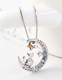 Chasing Star Arch Moon Cat Collar De Cristal