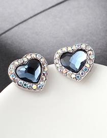 Fashion Denim Blue Crystal Stud Earrings - Sweetheart