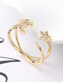 Fashion 14k Gold Zircon Ring - Chasing Star Arch