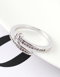Fashion Platinum Zircon Ring - Belt Buckle