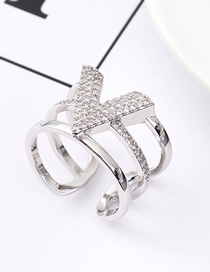 Fashion Platinum Zircon Ring - V Letter