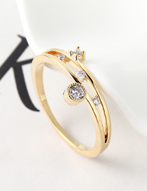 Fashion 14k Gold Zircon Ring - Glamorous
