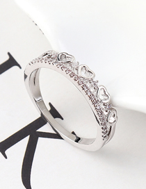 Fashion Platinum Zircon Ring - The Heart Is You