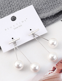 Fashion Platinum Plated Gold Double Pearl S925 Silver Needle Stud Earrings