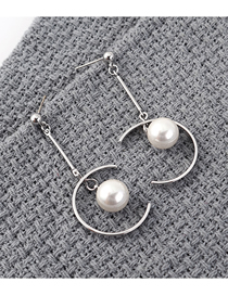 Fashion Platinum Plated Gold Half Hollow Pearl S925 Silver Needle Stud Earrings