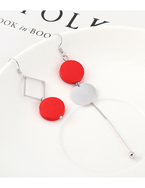 Fashion Red Plated Gold Asymmetric Round Wood Earrings