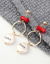 Fashion Gold Plated Gold Love Letters Pearl S925 Silver Needle Stud Earrings