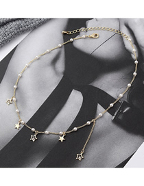 Fashion 14k Gold Pentagram Crystal Pearl Necklace