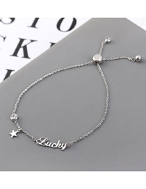 Fashion (platinum) Pentagram Letter Zircon Bracelet