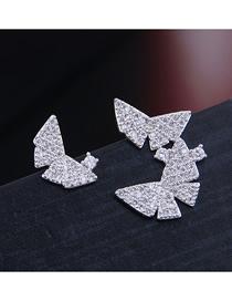 Fashion Silver Copper Micro Inlaid Zircon Butterfly Asymmetric Earrings