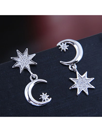 Pendientes De Estrella Y Luna De Circonita Con Micro Incrustaciones De Cobre
