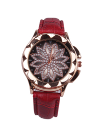 Fashion Red Time To Run The Disc Leather Watch  Electronic Element
