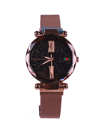 Fashion Coffee Gold Tape Star Watch