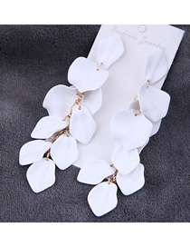 Fashion White Rose Petal Earrings