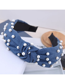 Fashion Navy Blue Nail Pearl Denim Fabric Knotted Headband