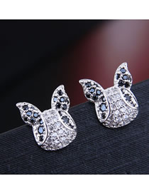 Fashion Silver Inlaid Zircon Cartoon Earrings