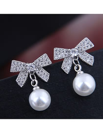 Fashion Silver Flash Diamond Bow Stud Earrings