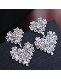 Fashion Silver Double Heart Earring