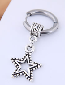 Fashion Silver Titanium Steel Five-pointed Star Studs