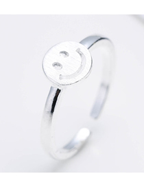 Fashion Silver Smiley Open Ring