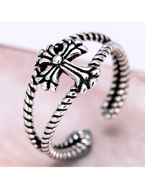 Fashion Silver Cross Opening Ring