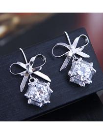 Fashion Gold Bow Zirconium Earrings