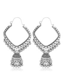 Fashion Silver Square Bell Drop Ear Studs