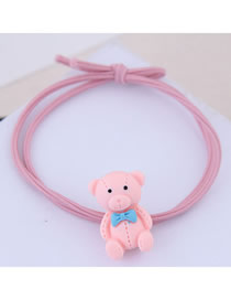 Fashion Pink Bear Hair Ring
