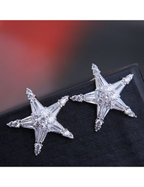 Fashion Silver 925 Silver Needle Copper Micro-inlaid Zircon Starfish Earrings