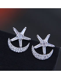 Fashion Silver 925 Silver Needle Copper Micro-inlaid Zircon Star Moon Stud Earrings
