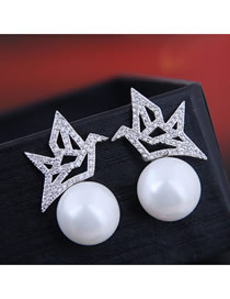 Fashion Silver 925 Silver Needle Copper Micro-inlaid Zircon Houndstooth Pearl Stud Earrings