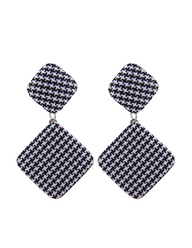 Fashion Black And White Metal Square Lattice Stud Earrings