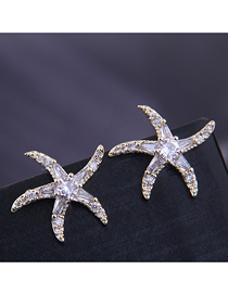 Fashion Gold Copper Micro-inlaid Zirconium Starfish Earrings
