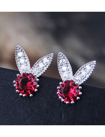 Fashion Red 925 Silver Pin Copper Micro Inlaid Zircon Rabbit Earrings