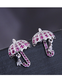 Fashion Silver 925 Silver Needle Copper Micro Inlaid Zircon Umbrella Earrings