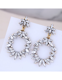 Fashion White Metal Gemstone Earrings