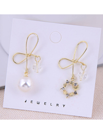 Fashion Gold 925 Silver Needle Bow Asymmetric Earrings